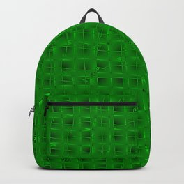 Square pastel curved stripes with imitation of the bark of a green tree trunk. Backpack