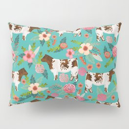 Shorthorn cattle breed farm homestead cows shorthorn cow floral Pillow Sham