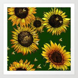 Buzzing Sunflowers  Art Print
