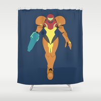 samus Shower Curtains featuring Samus(Smash) by ejgomez