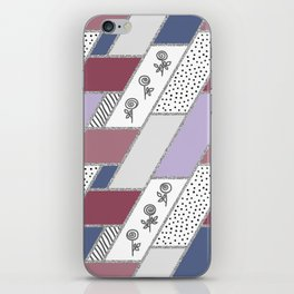 Abstract hand drawn geometric pattern with glitter pink and blue iPhone Skin