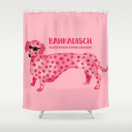 Pink hot dog Shower Curtain