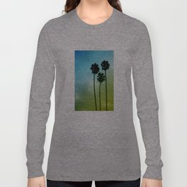 Palm Trees, Blue to Yellow Fade Long Sleeve T-shirt