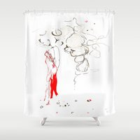 dress Shower Curtains featuring Red Dress by Esteban Garza