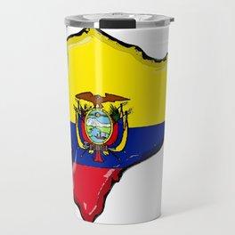 Ecuador Map with Ecuadorian Flag Travel Mug