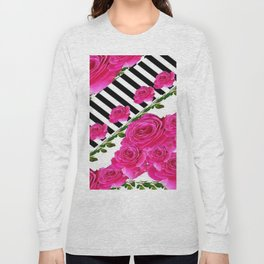 CERISE PINK ROSE GARDEN KEYBOARD PATTERN Long Sleeve T-shirt