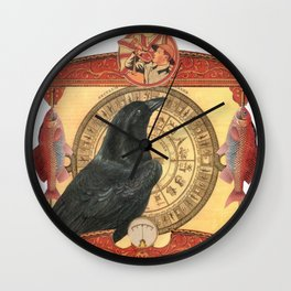 Crow with Goldfish Wall Clock
