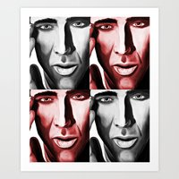 nicolas cage Art Prints featuring Nicolas by ArtChickStudio