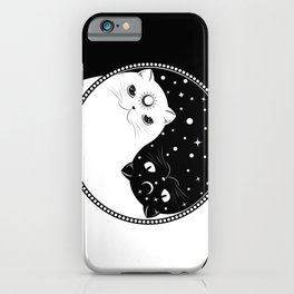 Cartoon black and white cats, yin yang sign iPhone Case