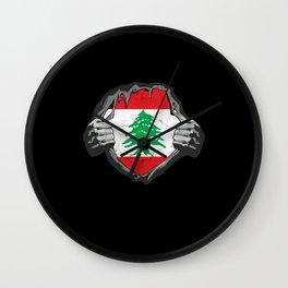 Lebanon Flag Proud Support Beirut Wall Clock