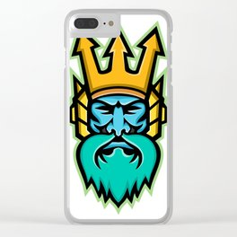 Poseidon Greek God Mascot Clear iPhone Case