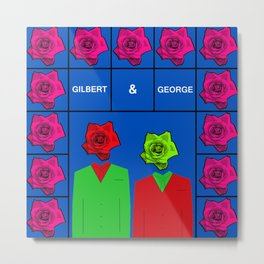 Portrait of Gilbert and George, illustration, pop culture Metal Print