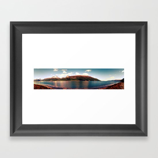 fjord landscape panorama, norway Framed Art Print
