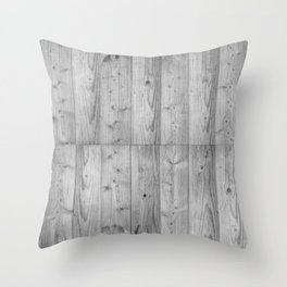 Wood Planks in black and white Throw Pillow