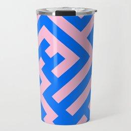 Cotton Candy Pink and Brandeis Blue Diagonal Labyrinth Travel Mug