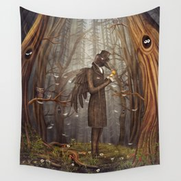 Raven in forest Wall Tapestry