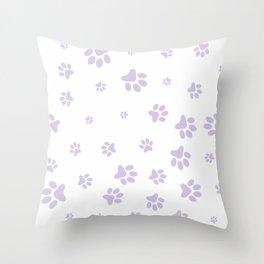 Lilac Pet paw pattern Throw Pillow