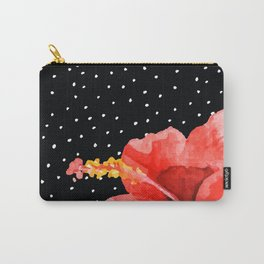 Tropical flower on dots Carry-All Pouch