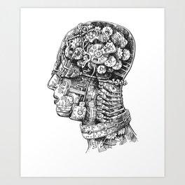 Steampunk Head Cross-Section Mechanical Gears Bust Art Print