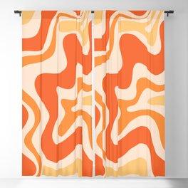 Tangerine Liquid Swirl Retro Abstract Pattern Blackout Curtain