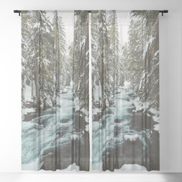 The Wild McKenzie River Portrait - Nature Photography Sheer Curtain