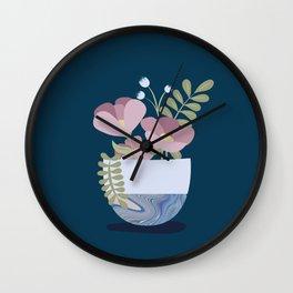 Flowers in Marbleised Vase 1# Wall Clock
