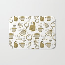 Gold penguins with Christmas sweater Bath Mat