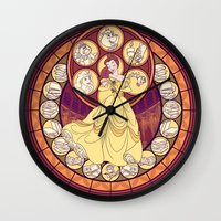 belle Wall Clocks featuring Belle by NicoleGrahamART