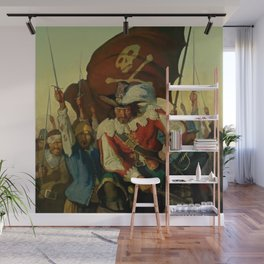 """""""Stand and Deliver"""" Pirate Art by NC Wyeth Wall Mural"""