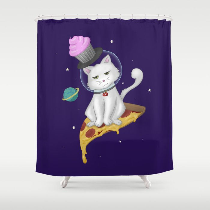 Pizza Space Cat Shower Curtain