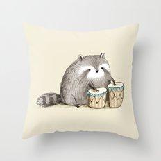 Raccoon on Bongos Throw Pillow