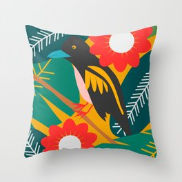 Broadbill and luxuriant vegetation Throw Pillow