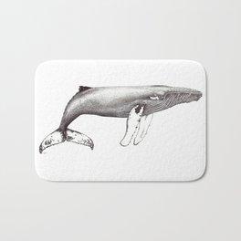 Humpback whale black and white ink ocean decor Bath Mat
