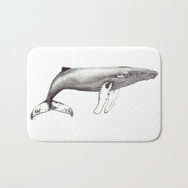 Humpback whale black and white ink ocean decor Bath Mat