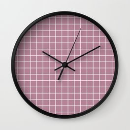 English lavender - violet color - White Lines Grid Pattern Wall Clock