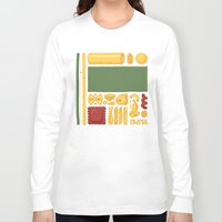 pasta Long Sleeve T-shirts featuring Pasta Mondrian by Chayground