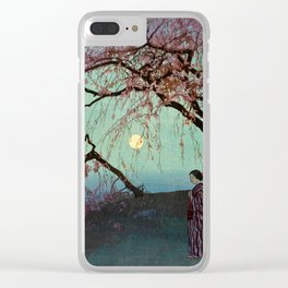 Hiroshi Yoshida - Kumoi Cherry Trees - Japanese Vintage Ukiyo-e Woodblock Painting Clear iPhone Case