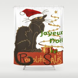 Joyeux Noel Le Chat Noir Christmas Parody Shower Curtain