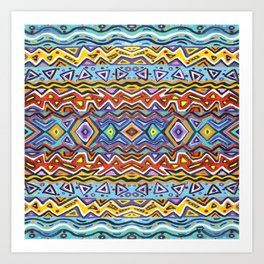Colorful Life Tribal Pattern Art Print