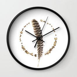 nature mandala... turkey feather, beechnuts, beechnut hulls Wall Clock