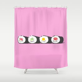 Happy Sushi! - Vector Shower Curtain