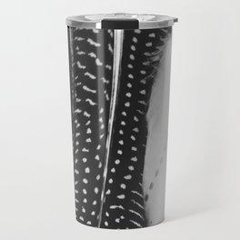 Boho Feathers - Black and White feather photography by Ingrid Beddoes Travel Mug