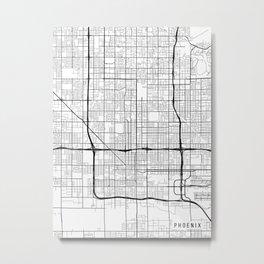Phoenix Map, Arizona USA - Black & White Portrait Metal Print