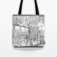 puppies Tote Bags featuring Borzoi puppies by Agy Wilson
