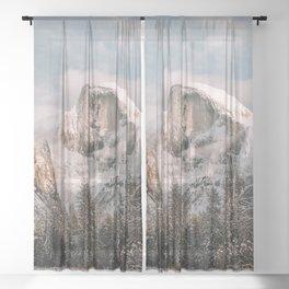 Yosemite Snow Capped Half Dome Sheer Curtain