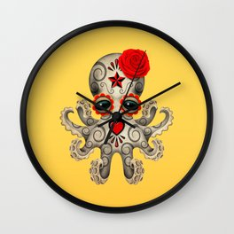 Red Day of the Dead Sugar Skull Baby Octopus Wall Clock