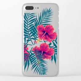Palm Leaves and Hibiscus Flowers Clear iPhone Case