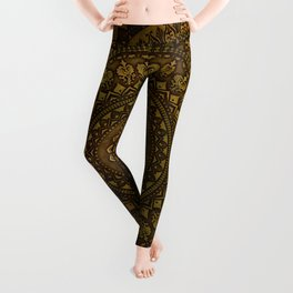 Lime Brown Mandala Leggings