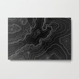 Black topography map Metal Print