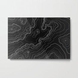 Black topography map Metal Print